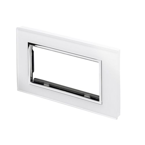RetroTouch Euro Data Plate Double (4 Module Space) White Glass CT 00176